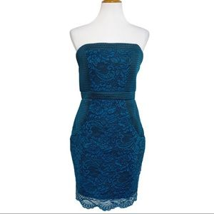 Lovers + Friends Lace Teal Strapless Dress